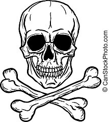 Skull and Crossbones isolated over white background Freehand...