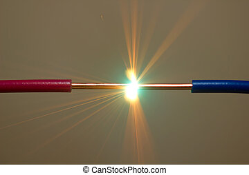 short circuit - bright flash of short-circuit and flying...