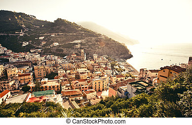 View of Minori town, Italy - Panoramic view of small cozy...
