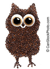 Owl coffee beans - Owl made of coffee beans, a cup of coffee...