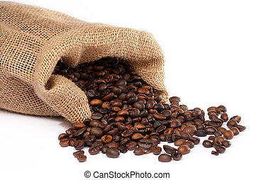 Sack with scattered coffee beans  white background