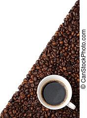 taza, café, frijoles