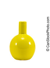 yellow glass vase isolated on white