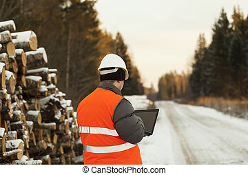 Lumberjack with the computer at the log pile in the woods