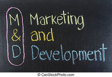 M&D acronym Marketing and Development,Marketing concept...