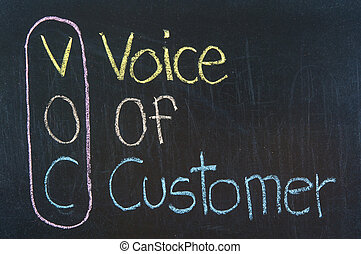 VOC acronym Voice Of Customer,Business concept ,color chalk...