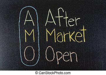 AMO acronym After Market Open,Marketing concept ,color chalk...