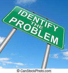 Identify the problem - Illustration depicting a roadsign...