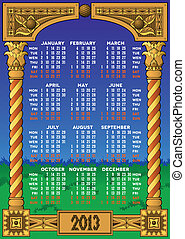 Wooden carved 2013 calendar with traditional ornament