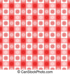 Seamless red gingham with floral pattern