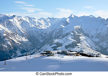 Skiing in the Austrian Alps, Saalbach, Tirol