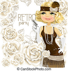 Retro girl with the gun Card - Beautiful girl with the gun...