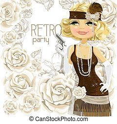 Retro girl with the gun. Card