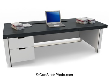 3d desk with laptop and executive chair
