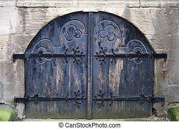 Old dark blue gate - Ancient dark blue church gate, are...