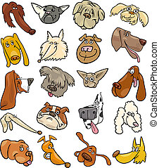 Cartoon funny dogs heads big set - Cartoon Illustration of...