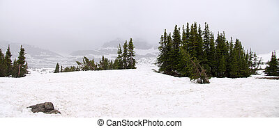 Snow covered Logan pass - Scenic Logan pass in the middle of...