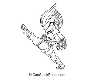 Muay Thai Boran :character cartoon9 - Muay Thai Boran :...