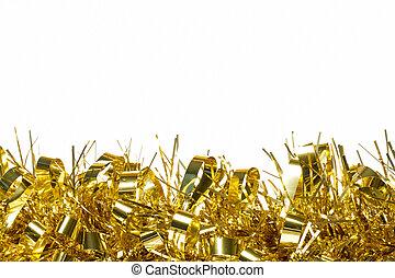 decoración, blanco, frontera, oropel, oro