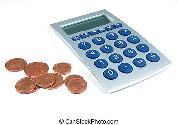 Coins and calculator - coins and calculator isolated