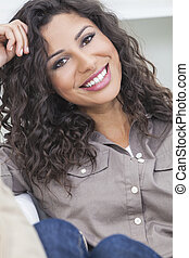 Beautiful Happy Hispanic Woman Smiling