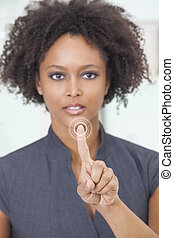African American Woman Businesswoman Touchscreen Button - An...
