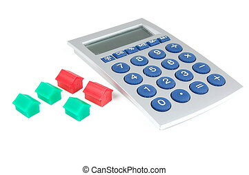 calculator and houses isolated on white