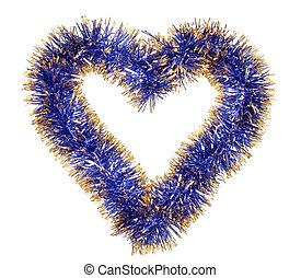 azul, corazón, oropel, oro