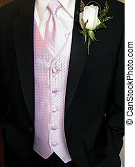 Tuxedo - close up of pink vest and black tuxedo with white...