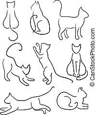 Silhouette of Cats. Cat Design Set Line Art