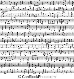 handwritten musical notes - Seamless background with...