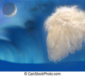 Angels wing with moon - Angels feather wing on sky blue...