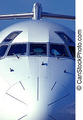 Front view of passenger jet airplane