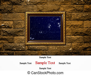 photo of a wood frame on brick - A photo of a wood frame on...