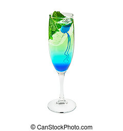 Layered cocktail blue and green Isolated on white