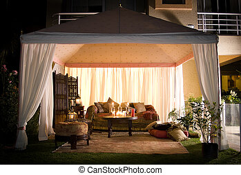 Party or wedding tent at night - Garden party or wedding...