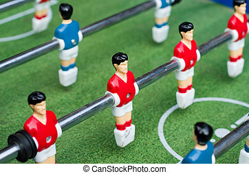Close up table soccer with players - Close up of red table...