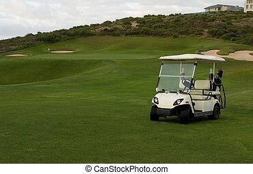 Golf cart at seaside holiday resort - Golf cart at beach or...