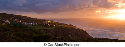 Holiday golf seaside holiday resort - Panoramic landscape of...