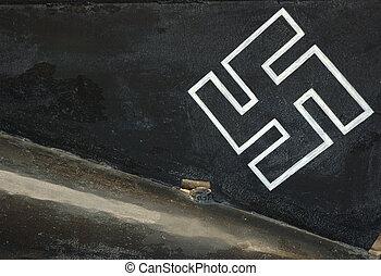 Historical museum Nazi swastika on side of rare submarine