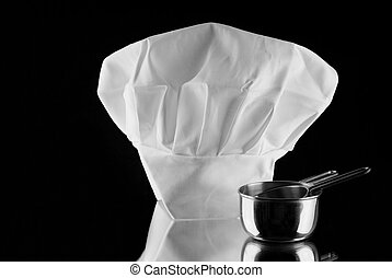 White chef's hat with measuring cup - Chef's hat with...