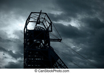 Mining mine headgear - South African gold mine industrial...