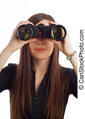 Business woman with binoculars - Business woman strategist...