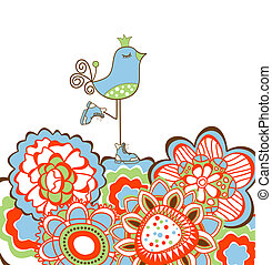 Flowers and bird decoration