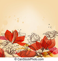Vintage floral card, abstract red flowers vector