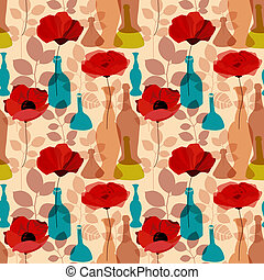 Flowers, vases and bottles seamless pattern vector
