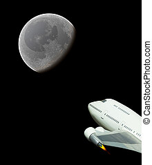 Commercial space flight to the moon - Rocket jumbo jet in...