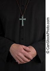sacerdote, crucifijo, Manos
