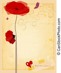 Vintage love flowers card, old paper texture vector...