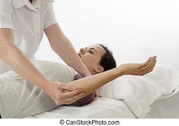 Kinesiologist treating Rhomboids - Kinesiologist or...